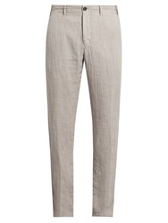 J.W.Brine Mike Straight Leg Linen Trousers Grey