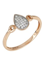Bony Levy 18K Rose Gold Diamond Pear Shape Ring 0.08 Ctw
