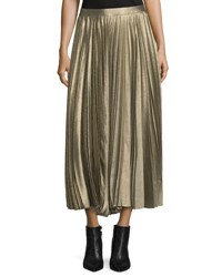 Derek Lam Metallic Accordion Pleated Midi Skirt Gold
