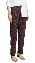 Club Monaco Printed Twill Pull On Pants Red Pattern