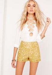 Missguided Lace High Waisted Shorts Green Chartreuse