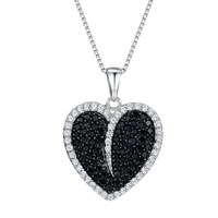 Jools By Jenny Brown Cubic Zirconia Heart Necklace Silver Black