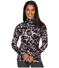 Spyder Collection T Neck Top Waves Black Print Women's Long Sleeve Pullover