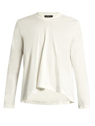 Balenciaga Long Sleeved Fluted Cotton T Shirt White
