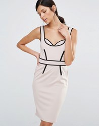 Little Mistress Pencil Dress With Contrast Piping Nude Beige
