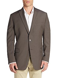 Calvin Klein Slim Fit Micro Gingham Wool Sportcoat Brown