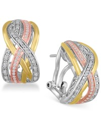 Macy's Diamond Weave Tri Color Hoop Earrings 1 4 Ct. T.W. In Sterling Silver And 14K Gold Plate Tri Tone