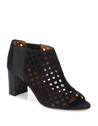 Aquatalia By Marvin K Shari Perforated Suede Open Toe Booties Black