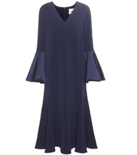 Edit Crepe And Satin Midi Dress Blue
