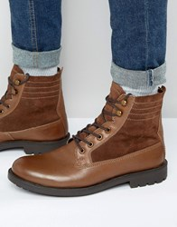 Dune Lace Up Boots Brown Leather Brown