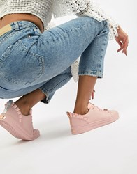 Ted Baker Pink Leather Ruffle Detail Trainers