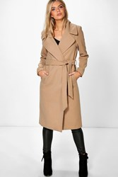 Boohoo Oversized Collar Longline Belted Robe Coat Camel