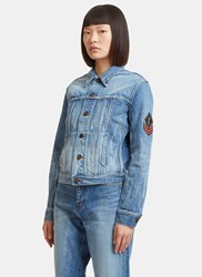 Saint Laurent Original Ysl Military Patch Denim Jacket Blue