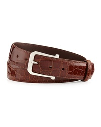 W.Kleinberg Glazed Alligator Belt With 'The Paisley' Buckle Cognac Made To Order