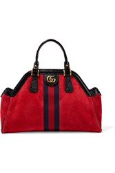 Gucci Re Belle Small Patent Leather Trimmed Suede Tote Red Gbp