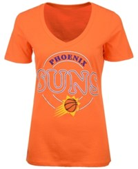 5Th And Ocean Women's Phoenix Suns Circle Glitter T Shirt Orange