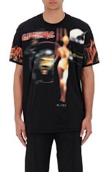 Givenchy Men's Distressed Heavy Metal Print Cotton T Shirt Black