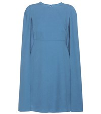 Valentino Wool Cape Dress Blue