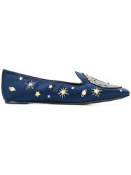 Tory Burch Olympia Embroidered Loafer Blue