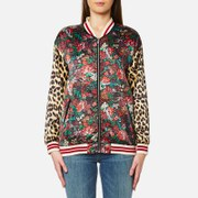 Maison Scotch Women's Silky Feel Print Mixed Bomber Jacket With Lurex Ribs Multi