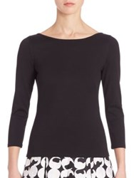 Akris Punto Three Quarter Boatneck Jersey Top Black