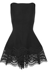 Lela Rose Guipure Lace Trimmed Stretch Wool Blend Top Black
