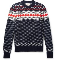Holiday Boileau Fair Isle Virgin Wool Sweater Navy