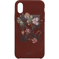 Off White Burgundy Flowers Iphone X Case