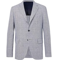 Massimo Piombo Mp Navy Andy Unstructured Puppytooth Linen Blazer Blue