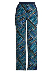 Talitha Painted Jasmin Graphic Print Wide Leg Trousers Blue Multi