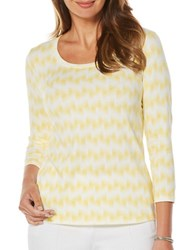 Rafaella Petite Ikat Print Three Quarter Sleeve Top Yellow