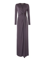 Biba Long Sleeve Knot Detail Event Maxi Dress Grey