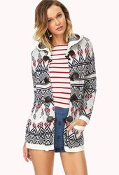 Forever 21 Festive Hooded Toggle Cardigan