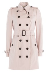 Burberry London Kensington Long Cotton Poplin Trench Coat Rose