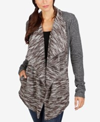 Lucky Brand Draped Open Front Cardigan Grey Multi