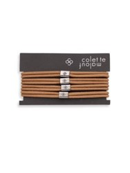 Colette Malouf Logo Beaded Elastic Ponytail Holder Set Of 4 Camel Black Brown