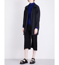 Issey Miyake Pleats Please Stand Collar Pleated Coat Black