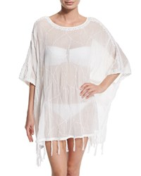 Letarte Embroidered Fringe Trim Poncho Coverup Women's