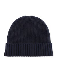 Neiman Marcus Cashmere Two Tone Knit Beanie Hat Black Blue