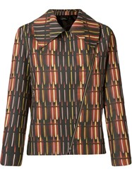 Andrea Marques Printed Biker Jacket Brown
