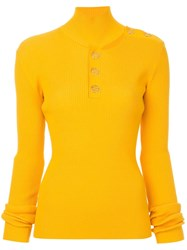 Dion Lee Button Grossgrain Skivvy Jumper Yellow And Orange