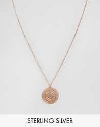 Carrie Elizabeth Large Rose Gold Aztec Disc Pendant Rose Gold