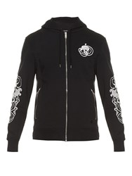 Alexander Mcqueen Skull Embroidered Zip Through Sweatshirt Black Multi