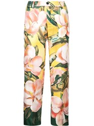 F.R.S For Restless Sleepers Floral Print Silk Trousers Green