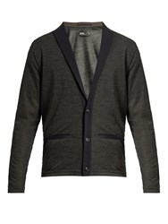Kolor Peak Lapel Wool Blend Cardigan Grey