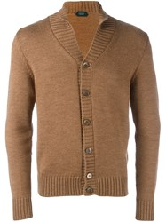 Zanone Shawl Collar Cardigan Nude And Neutrals