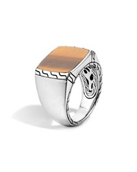 Silver Signet Ring With Tigers Eye John Hardy Brown