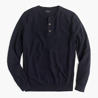 J.Crew Rugged Cotton Henley Sweater Deep Navy