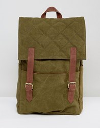 Hymn Double Strap Quilted Backpack Green