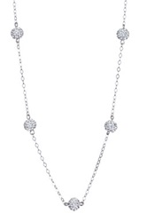 Candela Sterling Silver Crystal Ball Station Necklace Metallic